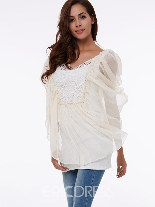 Ericdress Solid Color Lace Patchwork Batwing Blouse