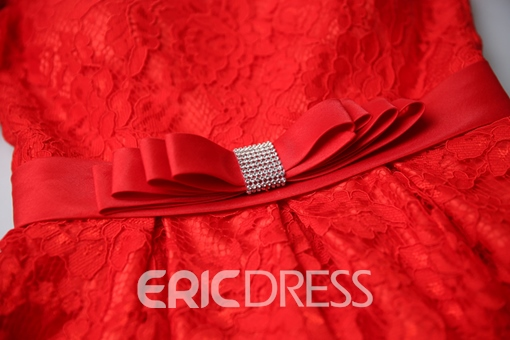Ericdress A-Line Short Sleeves Scoop Bowknot Lace Sashes Homecoming Dress