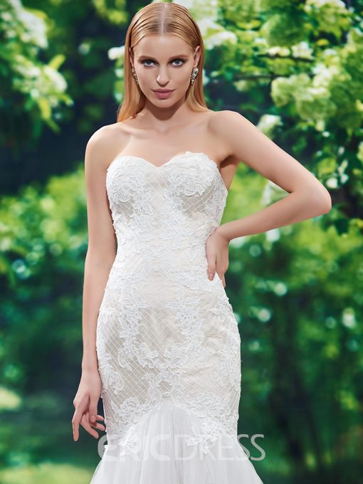 Ericdress Beautiful Appliques Sweetheart Mermaid Wedding Dress