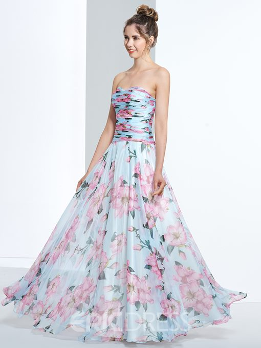 Ericdress A-Line Sweetheart Pleats Printed Floor-Length Prom Dress