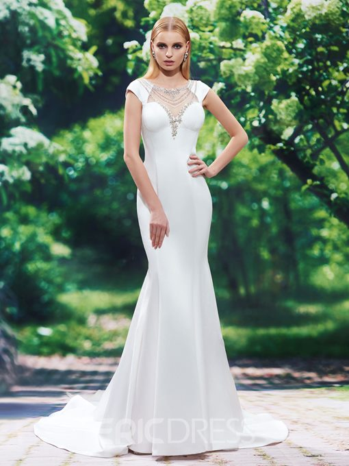 Ericdress Modern Scoop Beaded Backless Mermaid Wedding Dress