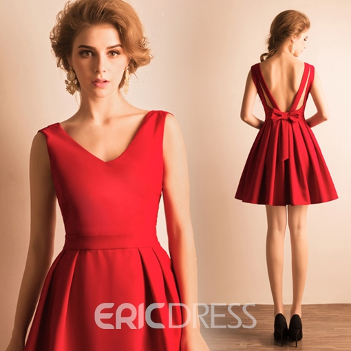 Ericdress A-Line V-Neck Bowknot Pleats Short Homecoming Dress
