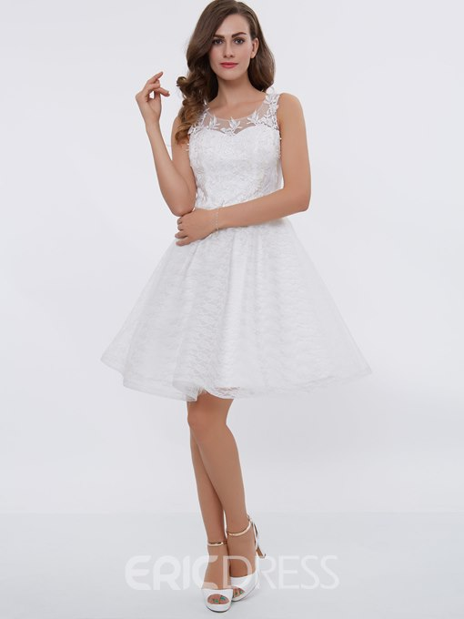 Ericdress Simple Short A Line Knee Length Lace Cocktail Dress