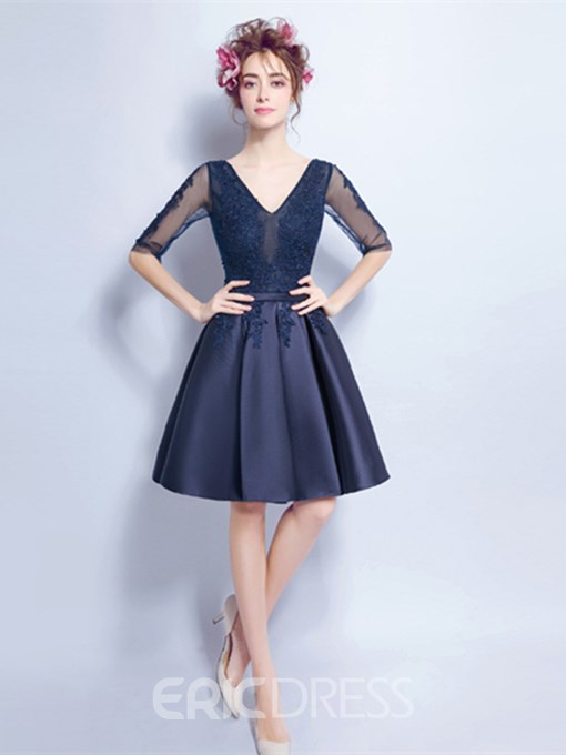 Ericdress A-Line V-Neck Half Sleeves Appliques Beading Knee-Length Homecoming Dress