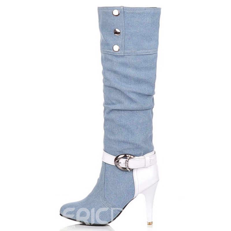 Ericdress Denim Patchwork Knee High Boots