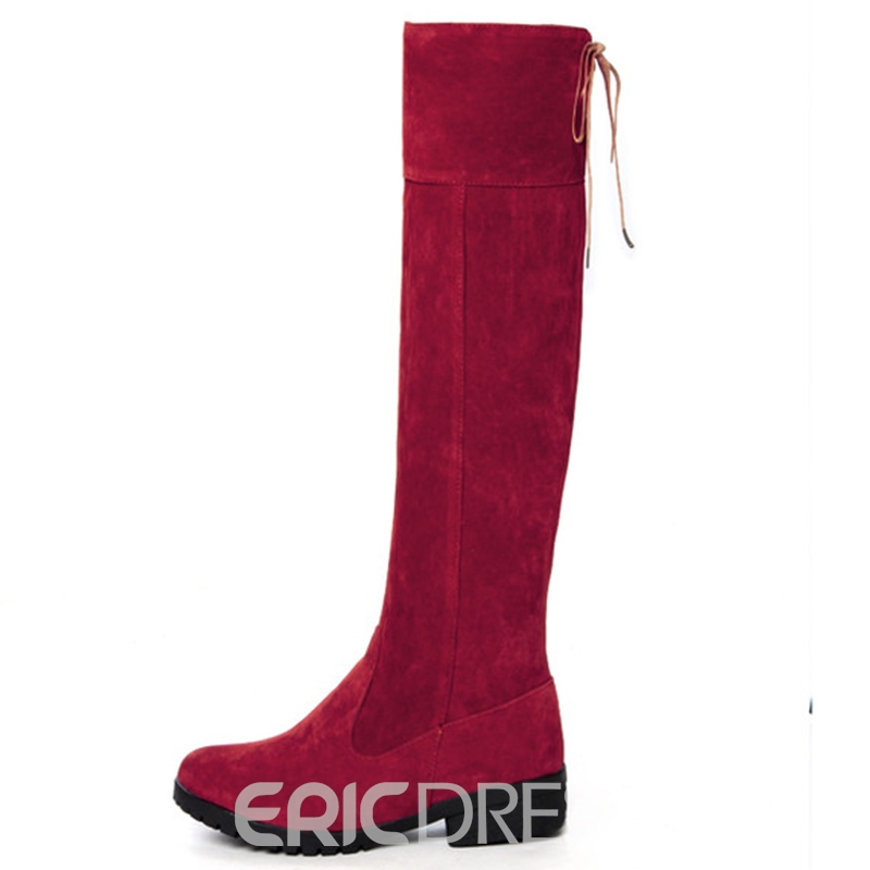 Ericdress Suede Solid Color Knee High Boots