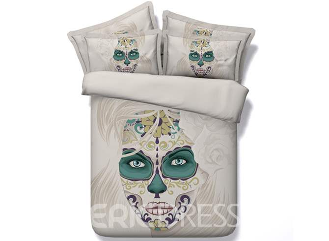 Vivilinen 3D Woman Skull with Roses Printed Cotton 4-Piece Bedding Sets/Duvet Covers
