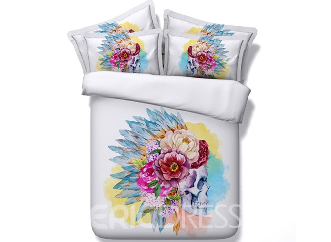 Vivilinen 3D Tribal Skull with Flowers Printed Cotton 4-Piece White Bedding Sets