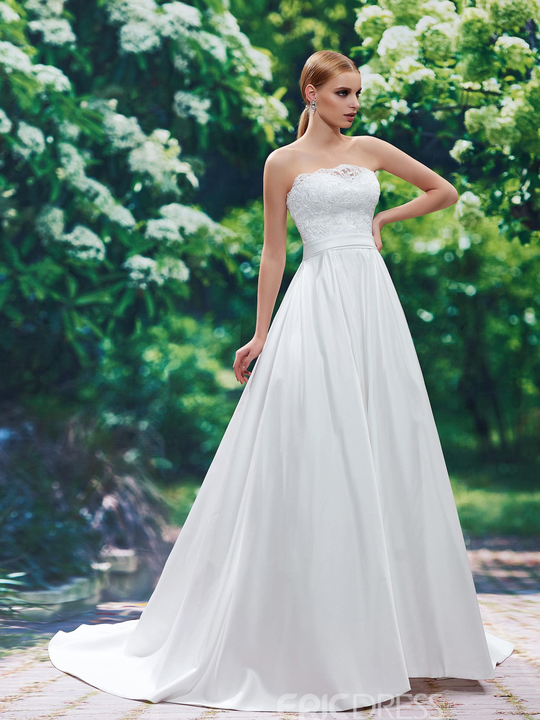 Ericdress Classic Strapless A Line Lace Wedding Dress