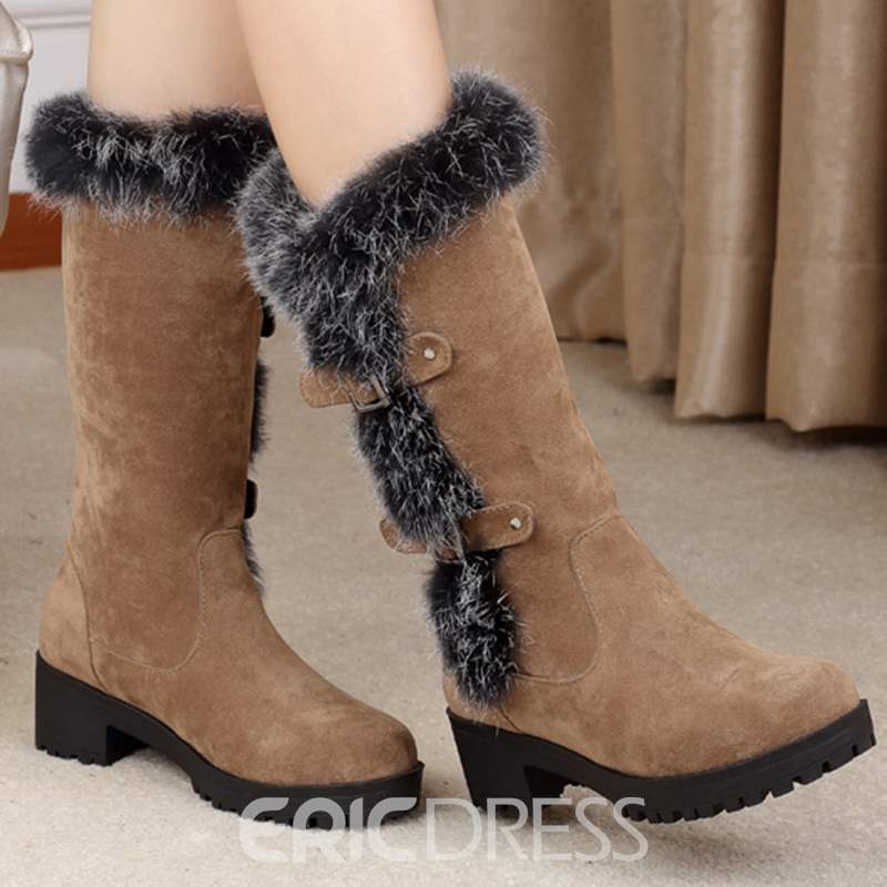 Ericdress Cool Furry&buckles Knee High Boots
