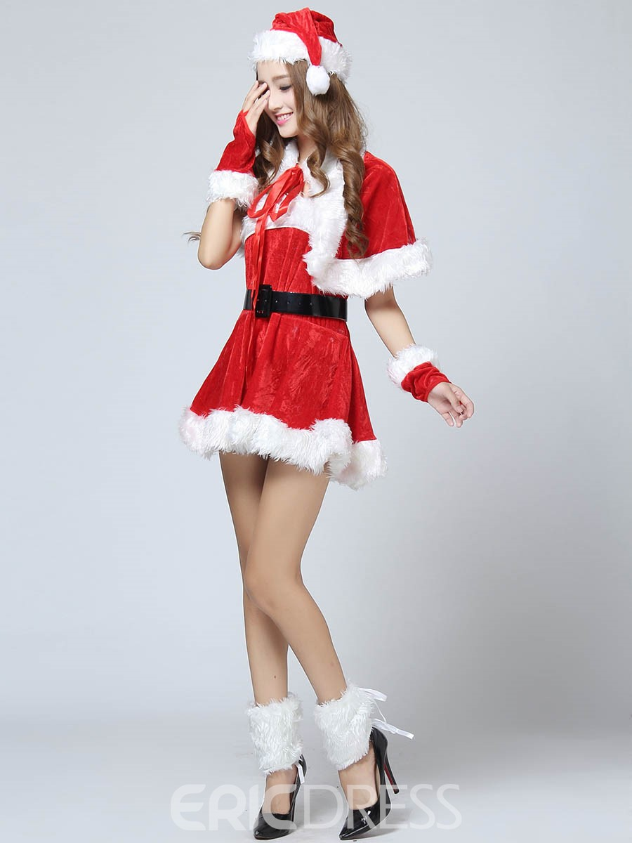 Ericdress Fur Hem Belt Cute Santa Cosplay Christmas Costume