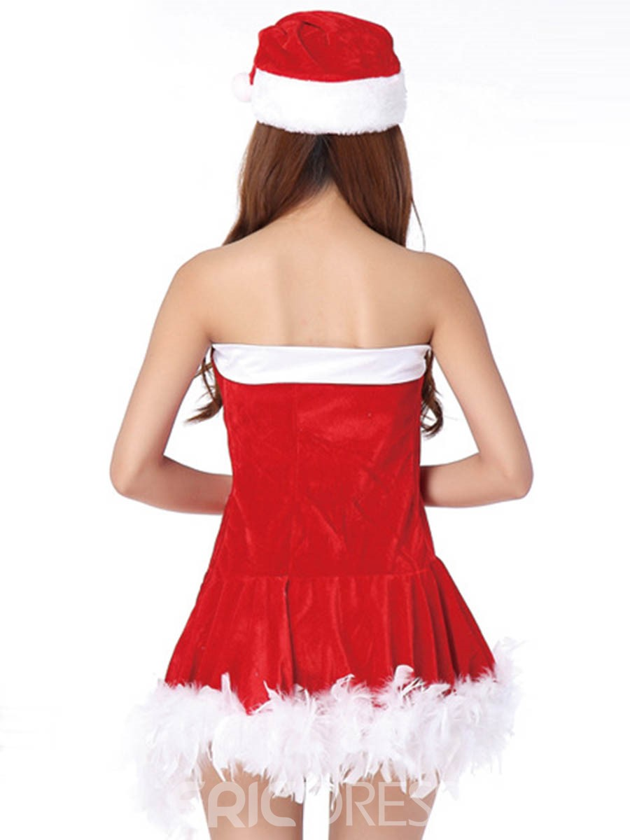 Ericdress Stripe Bowknot Strapless Sexy Santa Cosplay Christmas Costume