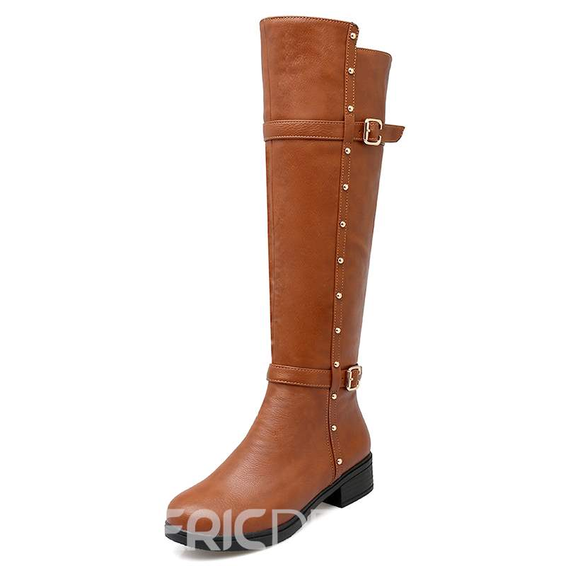 Ericdress Rivets Round Toe Knee High Boots