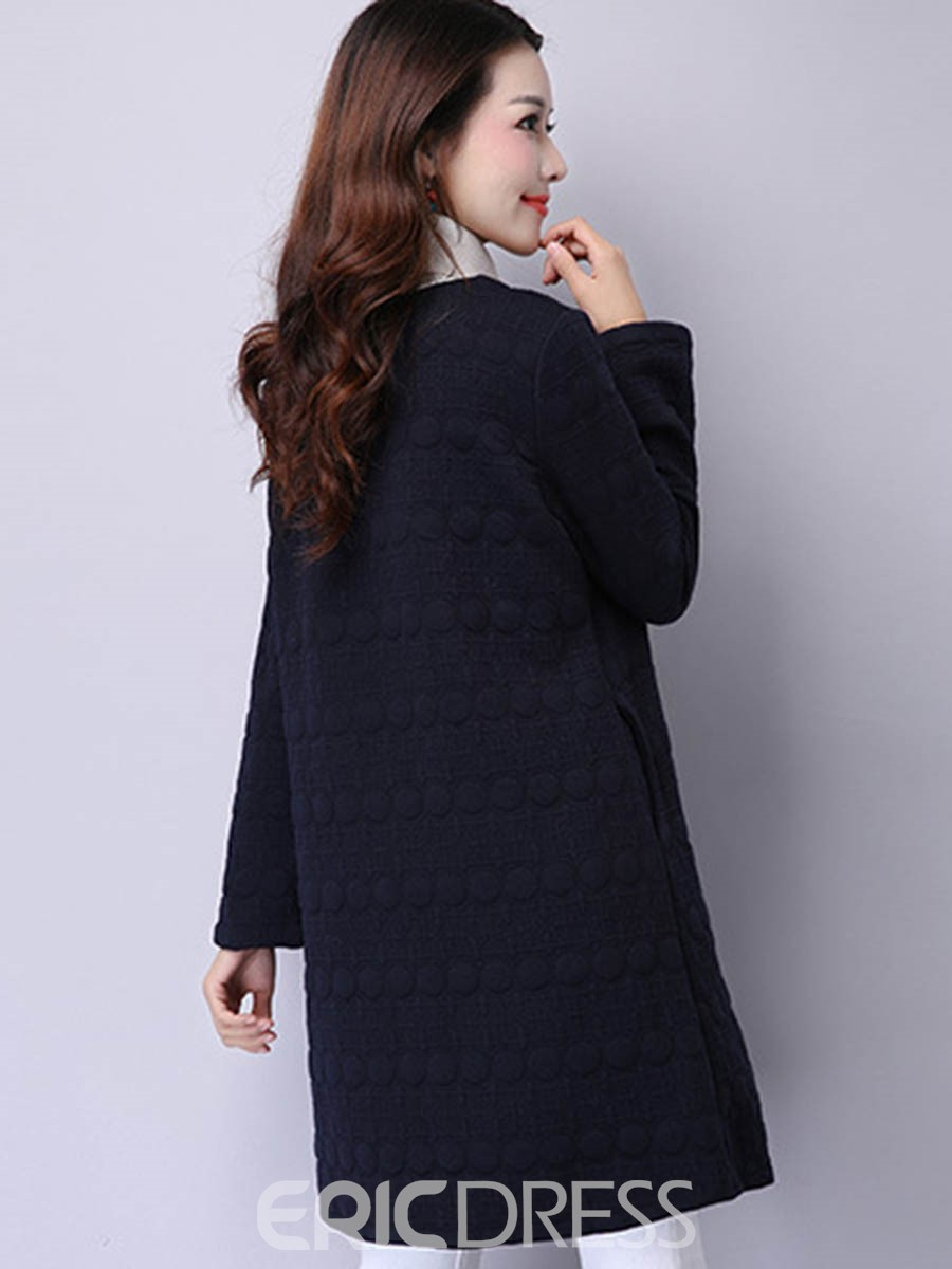 Ericdress Solid Color Single-Breasted Slim Casual Coat
