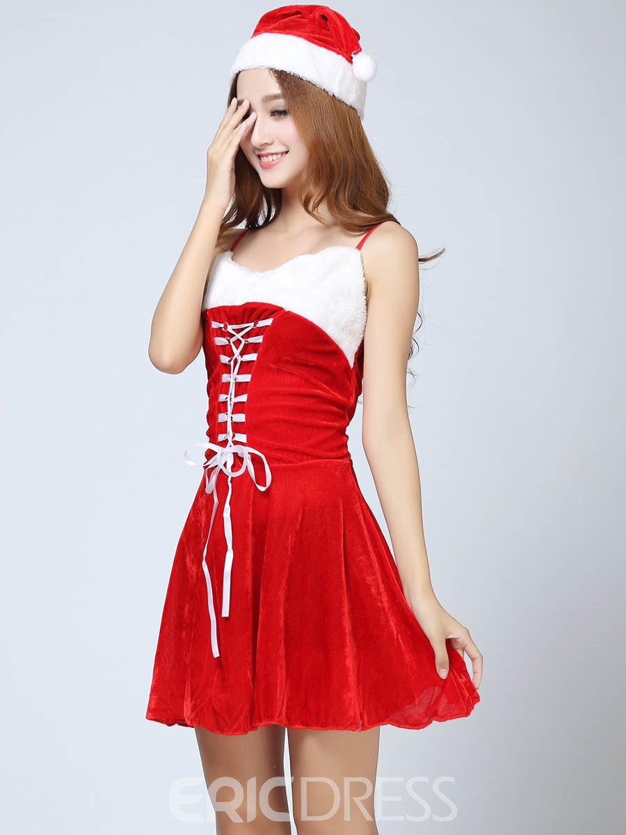 Ericdress Pleated Lace-Up Cute Santa Cosplay Christmas Costume
