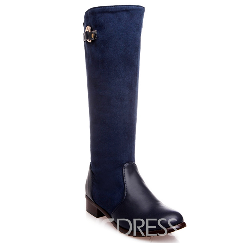 Ericdress Suede Patchwork Side Zipper Knee High Boots