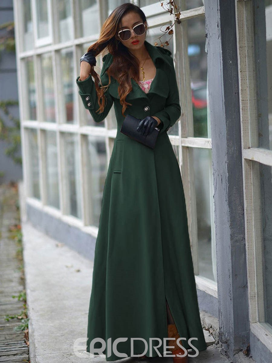 Ericdress Long Long Sleeve Slim Trench Coat