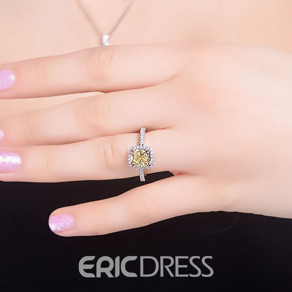 Ericdress S925 Sliver Topaz Inlay Wedding Ring