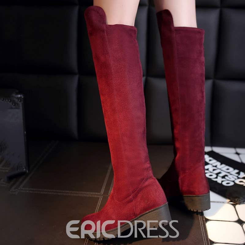 Ericdress Simple Suede Square Heel Knee High Boots