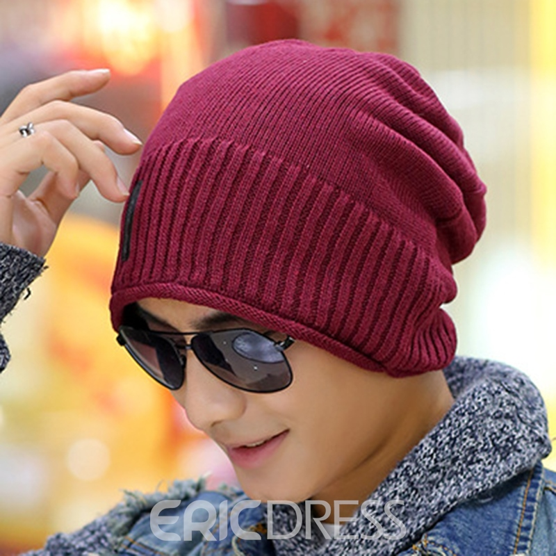 Ericdress Pure Color Knitting Men's Hat