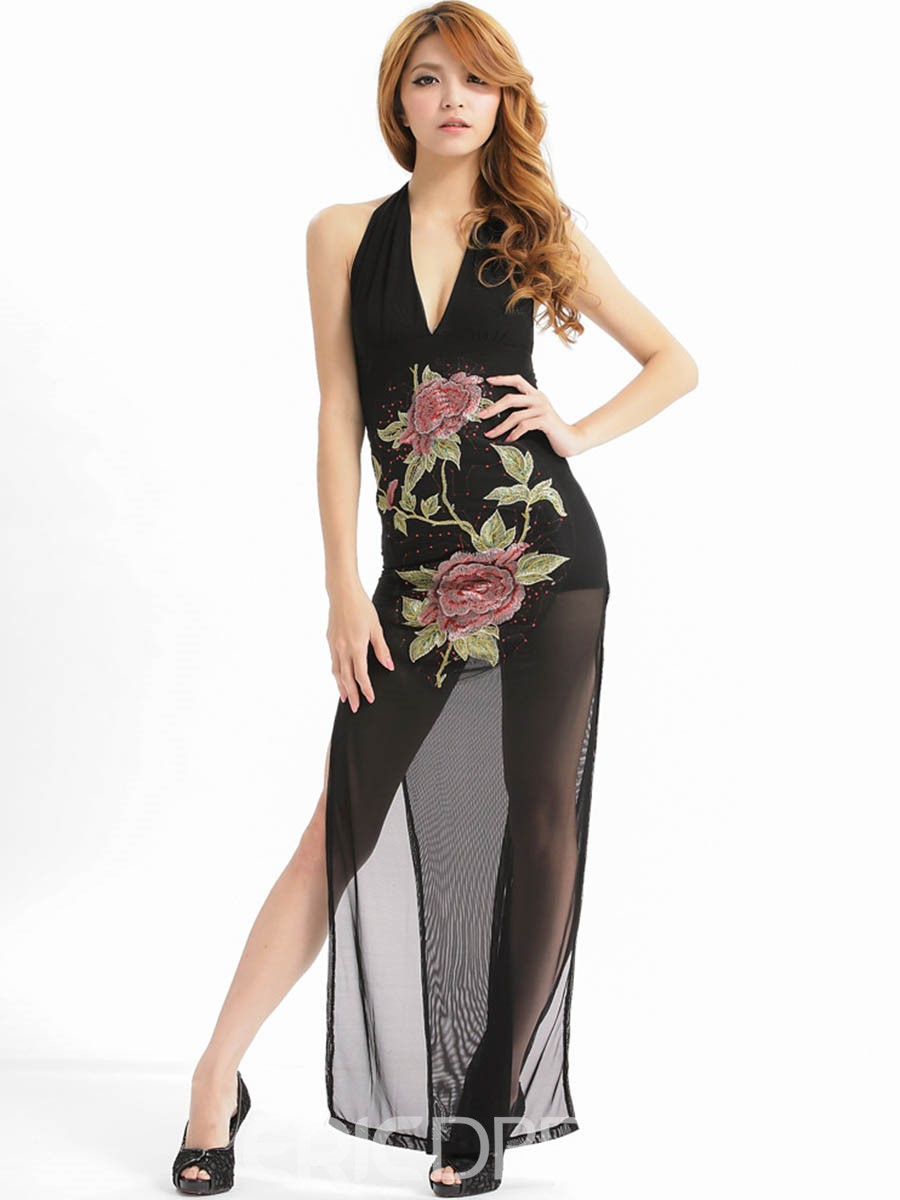Ericdress Deep V-Neck Mesh Flower Embroidery Vogue Sexy Clubwear