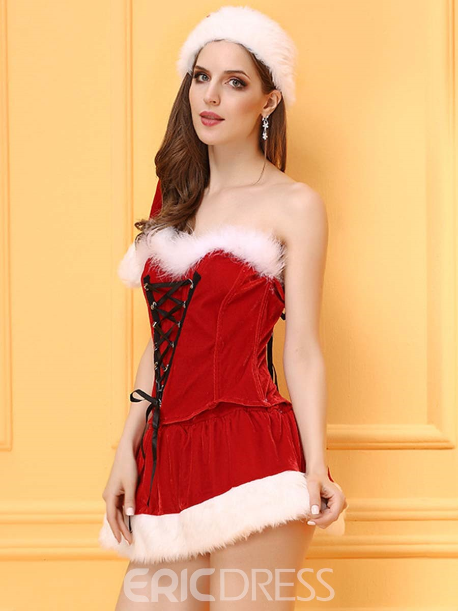 Ericdress Strapless Cross Lace-Up Santa Cosplay Christmas Costume