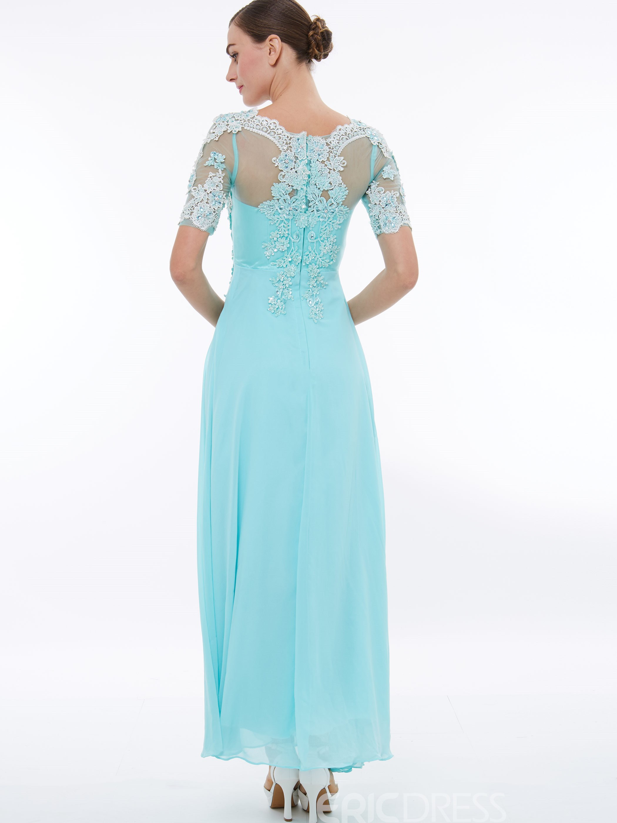Ericdress A Line Short Sleeve Chiffon Prom Party Dress With Lace Applique