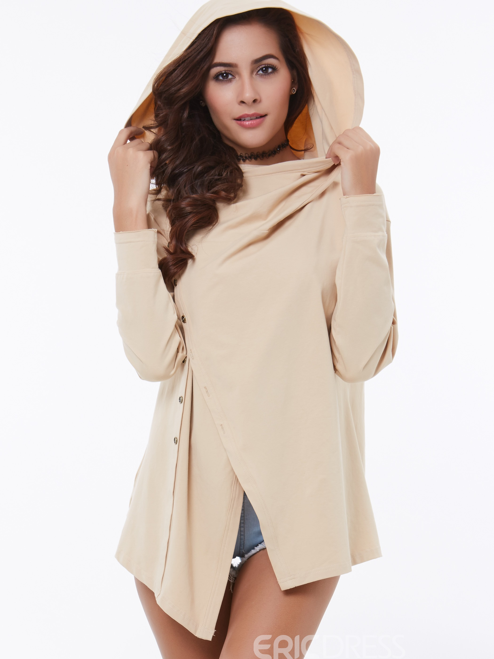 Ericdress Solid Color Asymmetric Hooded T-Shirt