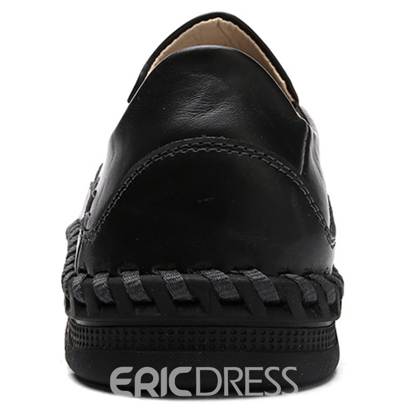 Ericdress PU Solid Color Thread Slip-On Men's Oxfords