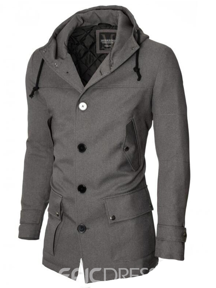 Ericdress Hood Pocket Vogue Casual Slim Men's Jacket