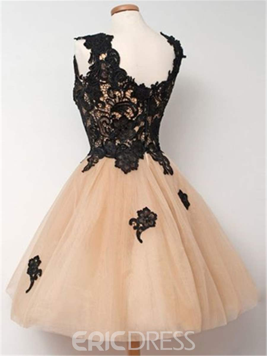 Ericdress A-Line Square Appliques Lace Short Homecoming Dress