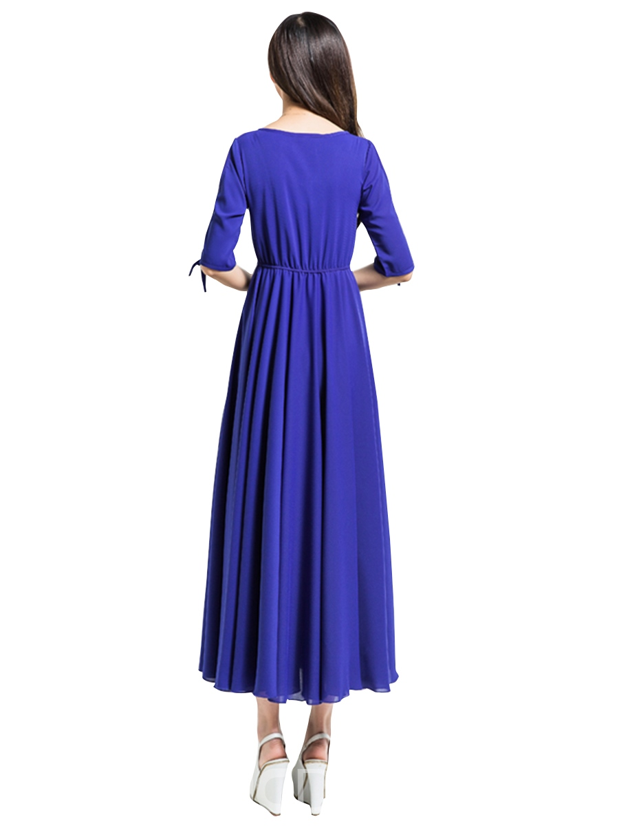 Ericdress Solid Color Expansion Half Sleeve Maxi Dress