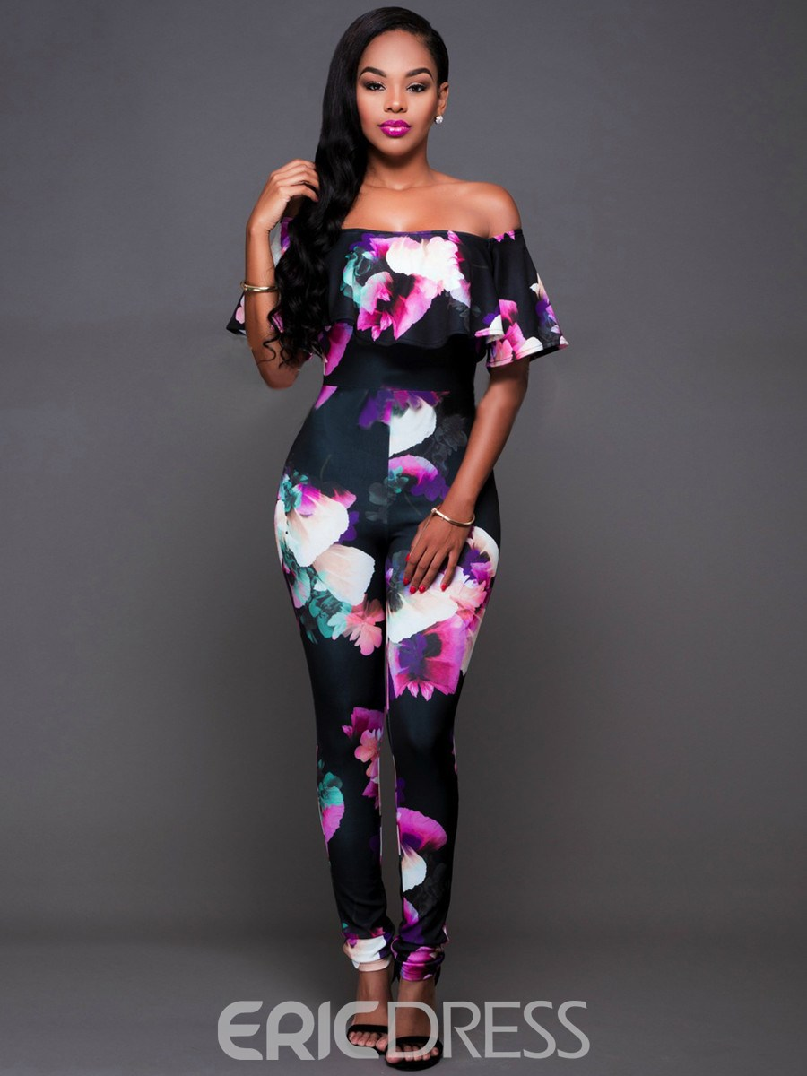 Ericdress Bohemian Print Slash Neck Jumpsuits Pants