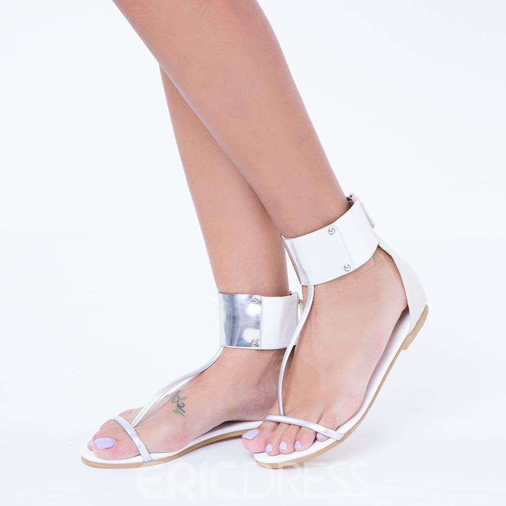 Ericdress Thong Zipper Sequins Open Toe Flat Sandals