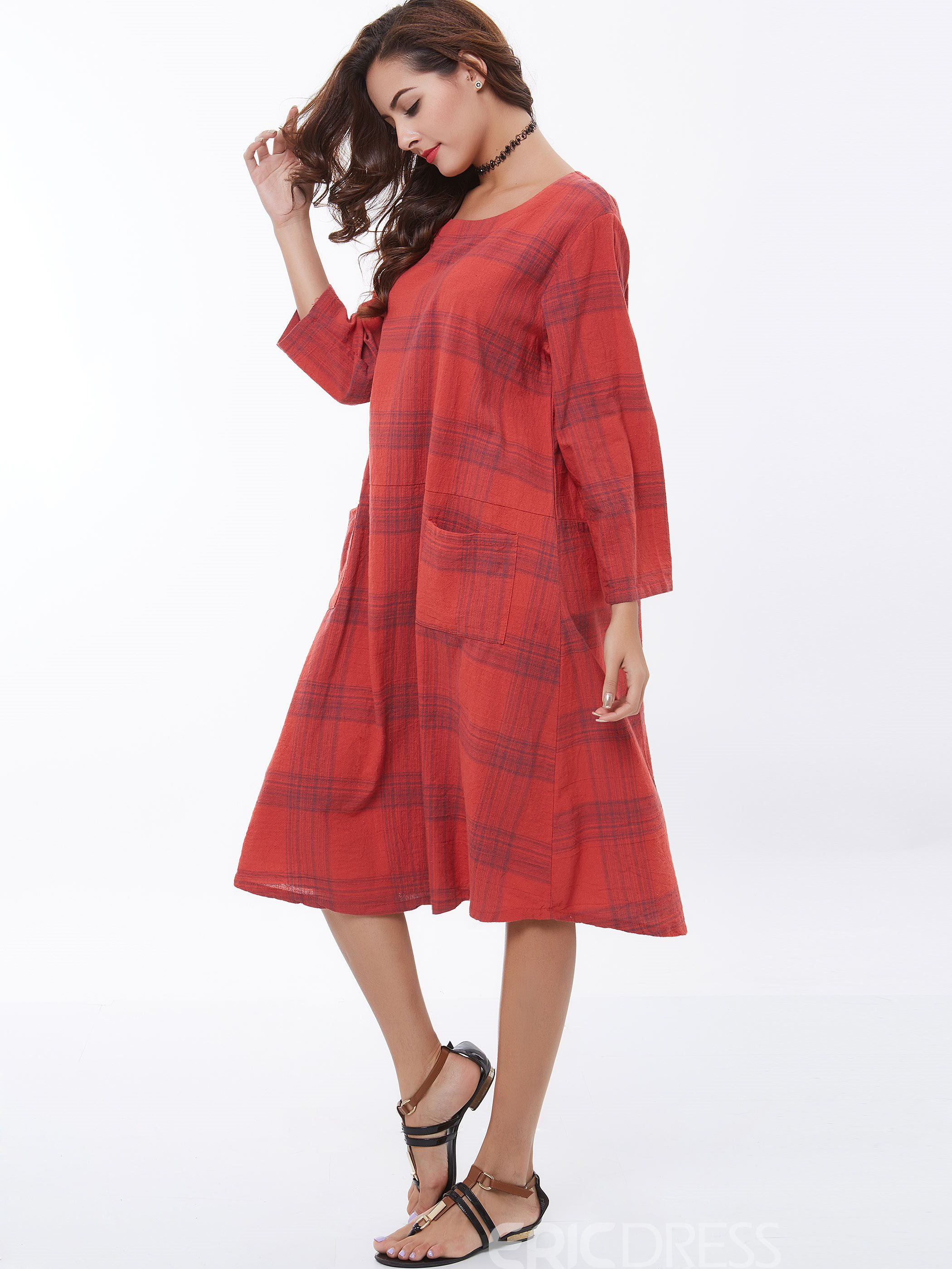 Ericdress Plaid A-Line Long Sleeve Loose Maxi Dress