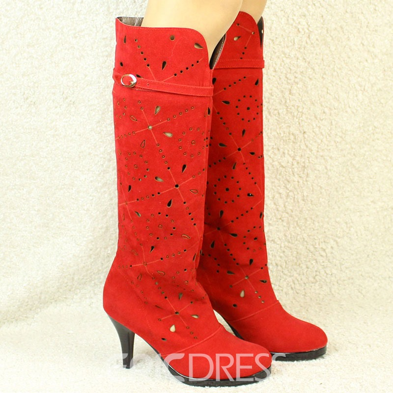 Ericdress Suede Cut Out Stiletto Heel Knee High Boots