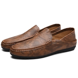 Ericdress Chic PU Plain Round Toe Slip-On Mens Loafers