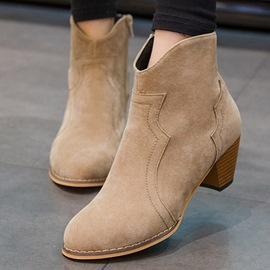 Ericdress Side Zipper Round Toe Chunky Heel Ankle Boots