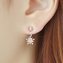 Ericdress Rhinestone Snowflake Earrings