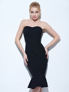 Tanpell Strapless Cocktail Dress Black Bowknot Above Knee A Line Gown Cheap Women Party Formal Customed Short Cocktail Dresses Elegant Appearance Cocktail Dresses