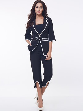 Ericdress Unique Color Block Blazer Suit
