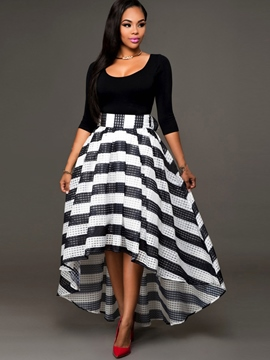 Ericdress Stripe Hollow Skirt Suit