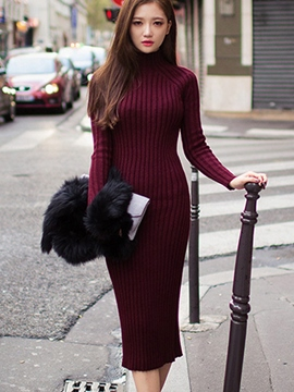 Ericdress Solid Color Turtleneck Slim Sweater Dress