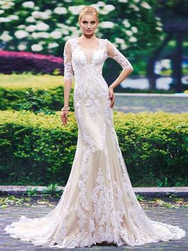 Ericdress Beautiful Scoop Appliques Mermiad Wedding Dress With Sleeves