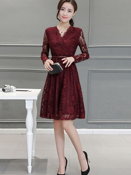 Ericdress Summer Solid Color Lace Dress