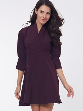 Ericdress Plain Three-Quarter Sleeve A-Line Casual Dress