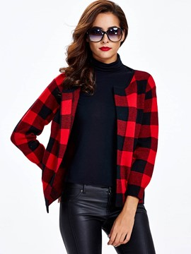 Ericdress Slim Plaid Cardigan Knitwear