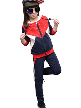Ericdress Color Block Polka Dots Printed Hooded Two-Piece Girls Outfit