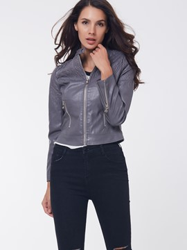 Ericdress Gray Zipper PU Crop Jacket