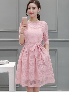 Ericdress Plain Lace-Up Long Sleeve Lace Dress